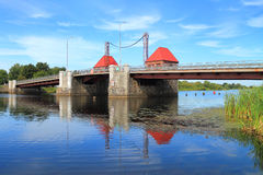 The Eagle movable bridge through Deym's river restored with preservation of the ancient mechanism Stock Photos