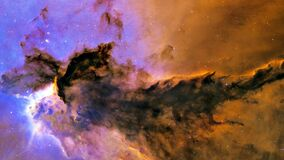 The Eagle Nebula. Space Flight to star field Galaxy and Nebulae deep space exploration
