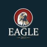 Eagle nell'illustrazione rossa di vettore del cerchio Fotografie Stock Libere da Diritti