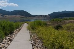 Eagle Nest lake pathway in northern New Mexico. Eagle Nest Lake State Park in northern New Mexico is used by campers and fishermen a like royalty free stock photography