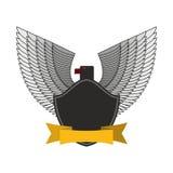 Eagle noir avec les ailes blanches Logo ou soldats des FO d'emblème Images stock