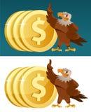 Eagle och dollarmynt Arkivfoto