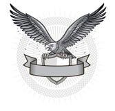 Eagle op heraldisch schild Royalty-vrije Stock Foto's