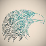 Eagle in oriental tribal ornament. Stock Photos