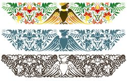 Eagle ornamental frieze. Traditional central European decoration, eagle and florid ornaments Royalty Free Stock Photos