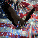 Eagle over Fireworks and USA Flag