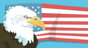 Eagle Over United States Of America Flag Stock Photography