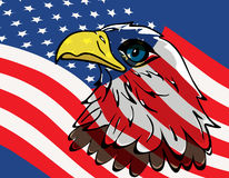 Eagle over USA flag stock photo
