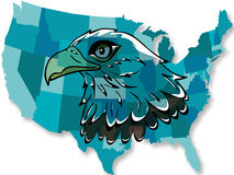 Eagle over USA map stock photos