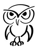 Eagle owl. Vector illustration. Black ink drawing Stock Images