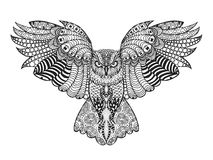 Eagle owl. Adult antistress coloring page Royalty Free Stock Photos