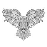 Eagle owl. Adult antistress coloring page Royalty Free Stock Photo