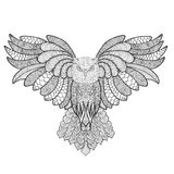 Eagle owl. Adult antistress coloring page Stock Image
