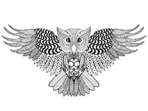 Eagle owl. Adult antistress coloring page Royalty Free Stock Image