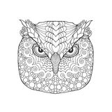 Eagle owl head. Adult antistress coloring page Stock Photography
