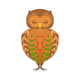 Eagle-Owl Relaxed Cartoon Wild Animal With Closed Eyes Decorated With Boho Hipster Style Floral Motives And Patterns Royalty Free Stock Image