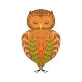 Eagle-Owl Relaxed Cartoon Wild Animal con gli occhi chiusi decorati con i motivi ed i modelli floreali di stile dei pantaloni a v Immagine Stock Libera da Diritti