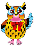 Eagle owl symbol predator plumage. Drawing cartoon round eyes Royalty Free Stock Images