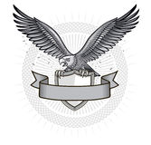 Eagle på den heraldiska skölden Royaltyfria Foton