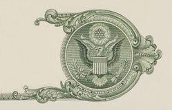 Eagle på $1 U S makro för closeup för dollarräkning arkivfoto