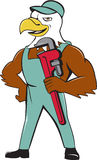 Eagle Plumber Monkey Wrench Cartoon chauve Images stock