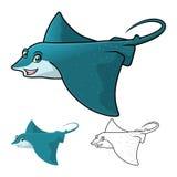 Eagle Ray Cartoon Character Include Flat-Design und Linie Art Version der hohen Qualität Lizenzfreie Stockbilder