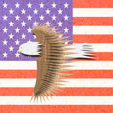 Eagle recycle paper craft with America flag Royalty Free Stock Photos