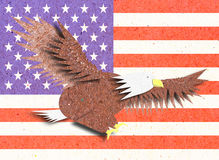 Eagle recycle paper craft with America flag Stock Image