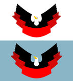 Eagle and red ribbon. Bird of prey for symbol, emblem of sports Stock Photos