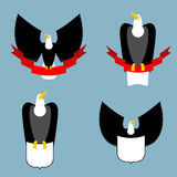 Eagle and red ribbon set. Black bird predator. Hawk and shield. Stock Photography