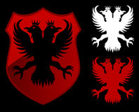 Eagle red shield. Black white and red Royalty Free Stock Images