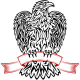 Eagle Ribbon Symbol Emblem Tattoo descrive il nero Fotografia Stock