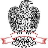 Eagle Ribbon Symbol Emblem Tattoo schetst Zwarte Stock Foto