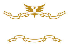 Eagle And Ribbons. Golden Frame Eagle And Ribbons Royalty Free Stock Photos