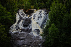 Eagle River Waterfall In Michigan. Eagle River Falls is one of the largest waterfalls in the Keweenaw and is view able from the road. The falls are located in Stock Image