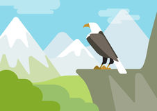 Eagle on the rock flat design cartoon vector wild animals birds. Eagle on the rock mountain habitat flat design cartoon vector wild animals birds. Flat zoo Royalty Free Stock Photo