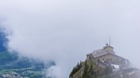 The Eagle`s Nest near Berchtesgaden. A view of the Eagle`s Nest on Obersalzberg, Germany, during a cloudy spring day 20th May 2017 Royalty Free Stock Photo