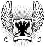 Eagle-schild met omhoog vleugels Stock Afbeeldingen