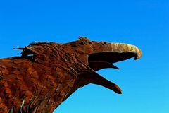 Eagle sculpture, Anza Borrego Desert State park. The vivid eagle head sculpture under the blue sky at the Anza Borrego Desert State Park stock image
