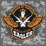 Eagle se va volando - los militares etiquetan, las insignias y diseño ilustración del vector