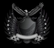 Eagle and Shield B&W Insignia. Eagle and Shield B&W Insignia with Stars and Stripe Royalty Free Stock Photos