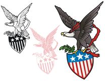 Eagle with shield. Patriotic emblem, eagle with stars and stripes shield Royalty Free Stock Photos