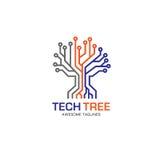 Eagle si dirige con il concetto di logo dell'albero del logotech del cerchio Immagine Stock