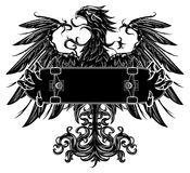 Eagle with skateboard. Heraldic eagle holding a skateboard isolated on white Stock Images