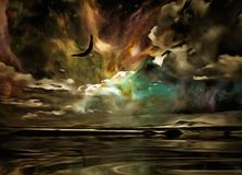 Eagle in the sky symbolizes freedom. Surreal painting. Eagle flies in vivid sky Royalty Free Stock Photos