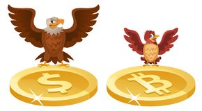 An eagle and a sparrow spread their wings over the symbols of th. E dollar and bitcoin Cartoon styled vector illustration. Elements is grouped. Isolated on white Royalty Free Stock Photo