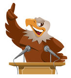 Eagle speak from tribune. Eagle speaks from tribune. Cartoon styled vector illustration. Elements is grouped and divided into layers Royalty Free Stock Photography