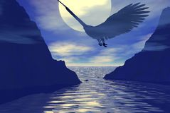 Eagle Spirit. Eagle flying between two cliffs with the moon as a backdrop stock illustration