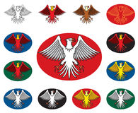 Eagle with spread wings. Vector signs variations stock illustration