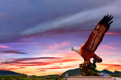 Eagle Square Langkawi. Sunset on the Eagle Square symbol and tourist spot of Langkawi Island, Malaysia stock image